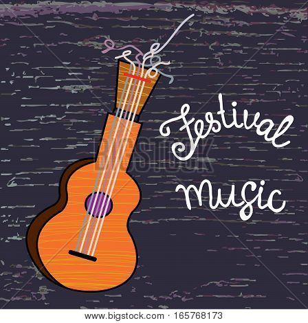 Background or placard for music festival with guitar and wood texture - vector graphic illustration