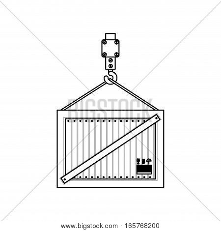 black silhouette contour hook crane holding a load container vector illustration