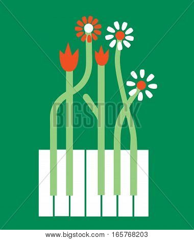 Conceptual piano background with flowers - vector graphic illustration