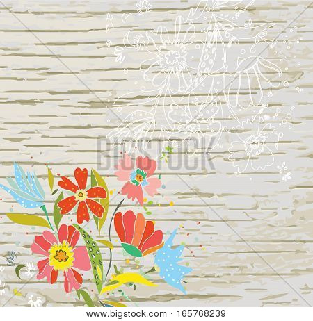 Floral background for the eco card with wood texture - vector graphic illustration