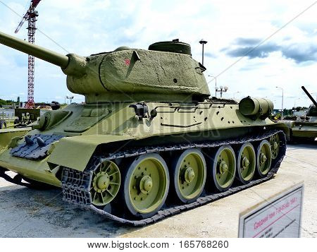 Upper Pyshma, Russia - July 02, 2016: Soviet tank T-34-85 arr. 1944 - exhibit of the Museum of military equipment