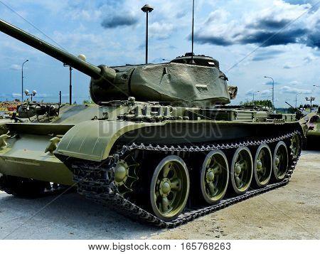 Upper Pyshma, Russia - July 02, 2016: Soviet medium tank T-44  arr. 1944 - exhibit of the Museum of military equipment