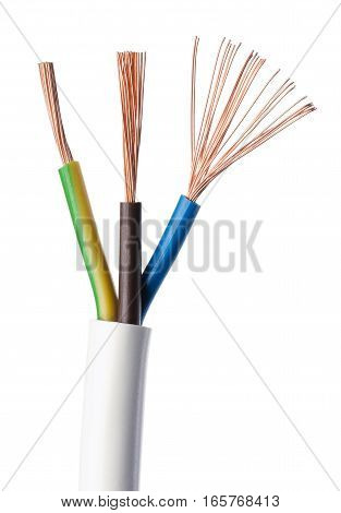 Electrical power cable IEC standard on white background. Cross-section. Cable jacket, wire insulations in brown, blue and yellow-green with flexible stranded copper wires. Macro close up photo.