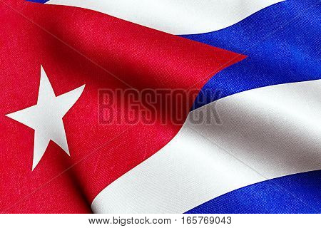 Waving Fabric Texture Of The Flag Of Cuba, Real Texture Color Red Blue And White Of Cuban Flag, Comm