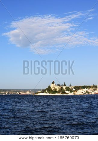 Nice view of Sevastopol with railway, Crimea, Southern Ukraine