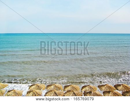 Black sea and umbrellas, Sevastopol, Crimea, Southern Ukraine