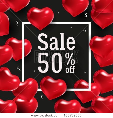 Border with text and balloons. Wedding over poster. Seasonal sale 50 percent off. Sign of love. Vector illustration