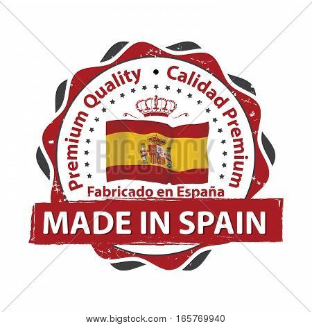 Made in Spain, Premium Quality (Text in Spanish language: Fabricado en Espana, Calidad Premium) Grunge label / sticker  - Made in Spain, with Spanish national flag colors and map. CMYK colors used.