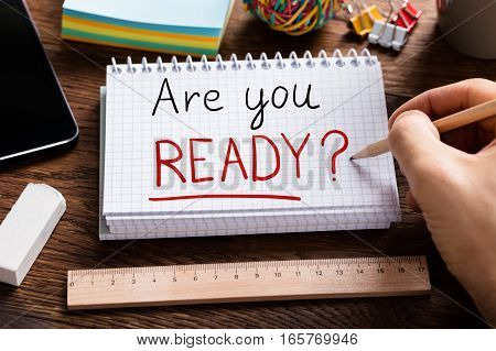 Are You Ready Text Written On Note Paper With Paper Clip Attached To It