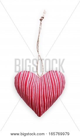 Red striped sewed pillow in heart shape, diy homemade isolated on white background. Valentine day mockup. Lovers holiday symbol