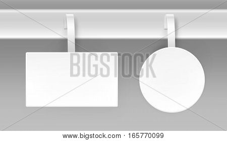 Vector set of Blank White Square Round Oval Papper Plastic Advertising Price Wobbler Front view Isolated on Background