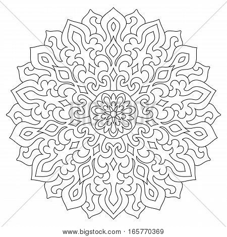 Circular geometric ornament. Round outline Mandala for coloring page. Vintage decorative elements