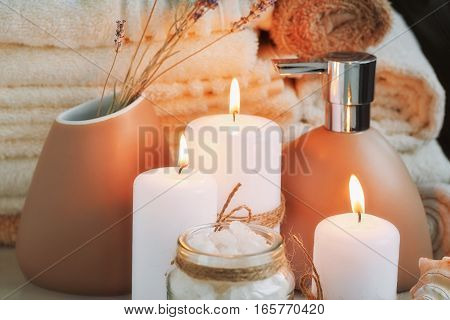Composition of spa treatment with sea salt. Spa concept.