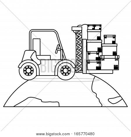 black silhouette contour forklift truck with forks with boxes over the planet vector illustration