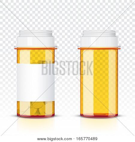 Pills bottle isolated on transparent background .