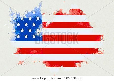 United States Of America Flag On White Brick Wall Background, Animation Painted With Watercolor Effe