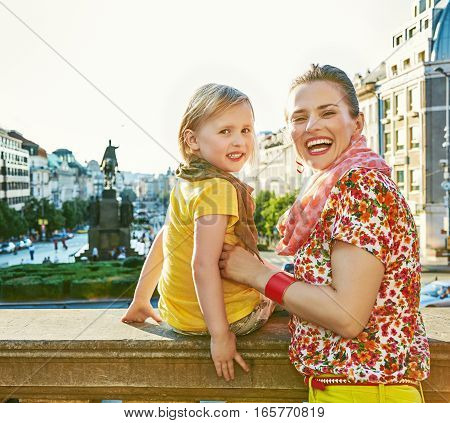 Mother And Daughter Tourists On Vaclavske Namesti In Prague