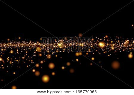 Christmas Golden Light Shine Particles Bokeh On Black Background, Holiday