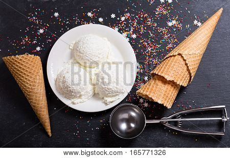 Ice Cream Scoops On Dark Background