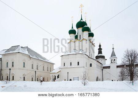 Rostov Veliky / Russia - DECEMBER 22: St. John's Cathedral in Kremlin on December 22 2016 in Rostov Veliky. Rostov Veliky is oldest in Russia tourist center of Golden Ring.