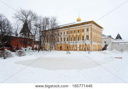 Rostov Veliky / Russia - DECEMBER 22: Central courtyard (foreground) Art Gallery (right) and the House on cellars (left) in Kremlin on December 22 2016 in Rostov Veliky.