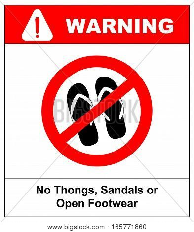 Sign no sandals, thongs or open footwear. No slipper red prohibition circle icon on white background. Not allowed shoe flat symbol. Forbidden entry in step-ins. Ban flip flops. Stock illustration