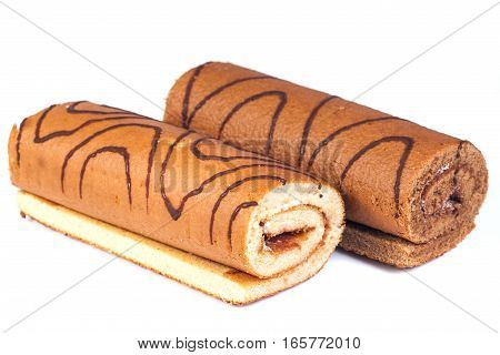 Tasty cake roll isolated on white background