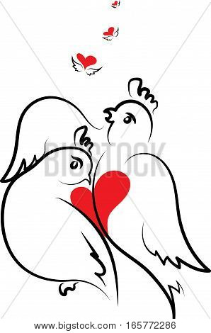 Valentine's card with two doves in love