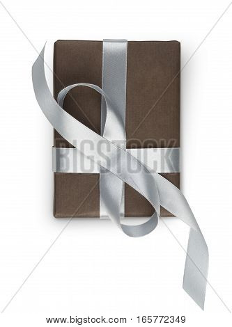 Gift box with silver ribbon top view, isolated on white background. Modern present for any holiday, christmas, valentine or birthday