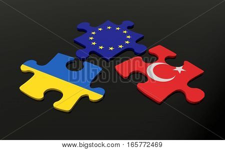 Puzzle with Europe Turkey and Ukraine flags. 3D rendering