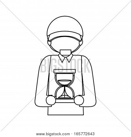 halfbody black silhouette messenger with sand clock vector illustration