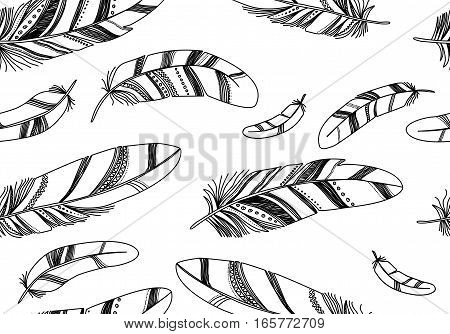 Seamless pattern with black contour feathers on a white background.
