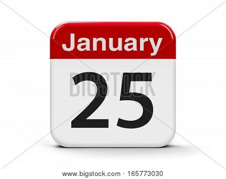 Calendar web button - The Twenty Fifth of January three-dimensional rendering 3D illustration