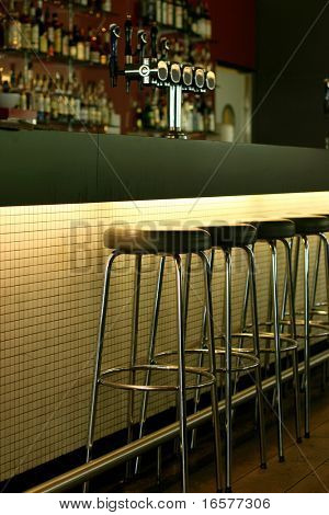Empty bar waiting for the first costumers