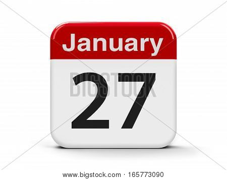Calendar web button - The Twenty Seventh of January - International Holocaust Remembrance Day three-dimensional rendering 3D illustration