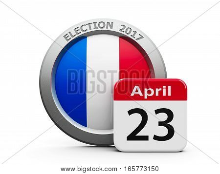 Emblem of France with calendar button - The Twenty Third of April - represents the Election Day 2017 in France three-dimensional rendering 3D illustration