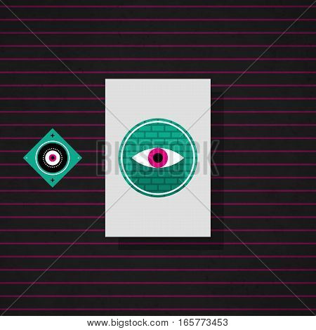 Modern Design Card Template With Mystic Symbols And Wacky Colors. Useful For Invitations, Postcards