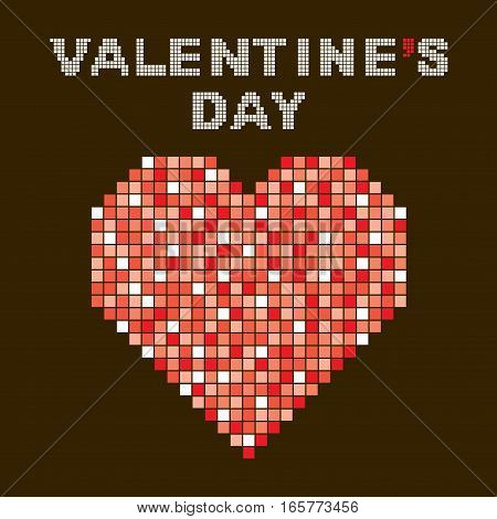 heart shape design using colorful red square pattern valentine's day poster design