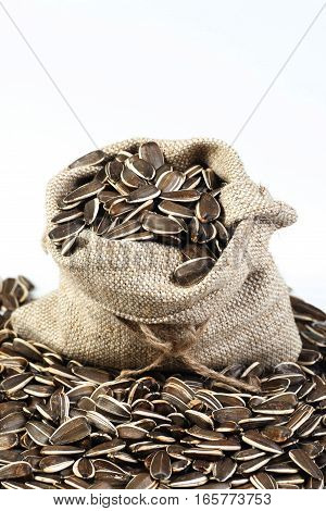 Flower seeds in bag isolated on white background. Isolated objects