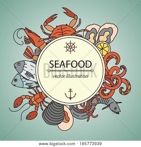 Seafood vector card with symbols of various delicacies - oyster, cancer, molluscs, mussels, eel, caviar, anchovies, octopus and dorado