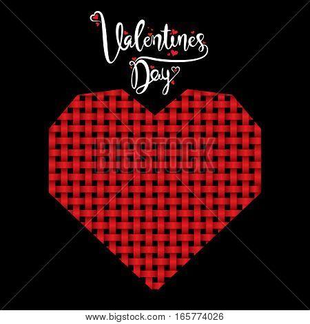 creative weaving red stripe design heart shape valentines day
