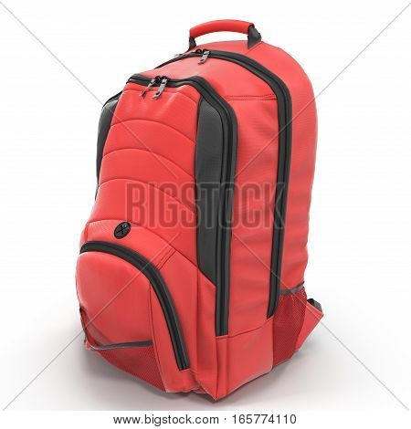 Red Backpack isolated in white background. 3D illustration