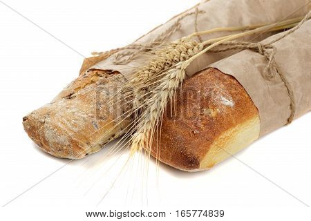 bread and spice isolated on vhite background