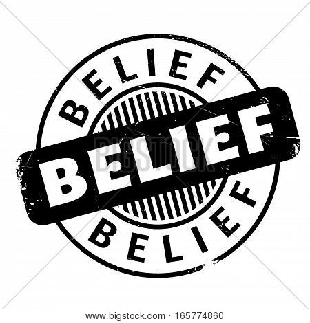 Belief rubber stamp. Grunge design with dust scratches. Effects can be easily removed for a clean, crisp look. Color is easily changed.