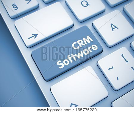 Business Concept: CRM Software on the Modern Laptop Keyboard lying on the Toned Background. Online Service Concept: CRM Software on the Conceptual Keyboard Background. 3D Illustration.