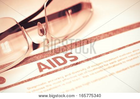 Diagnosis - AIDS - Acquired Immune Deficiency Syndrome. Medicine Concept with Blurred Text and Glasses on Red Background. Selective Focus. 3D Rendering.