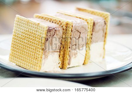 Ice Cream Wafer With Extreme Shallow Depth Of Field.