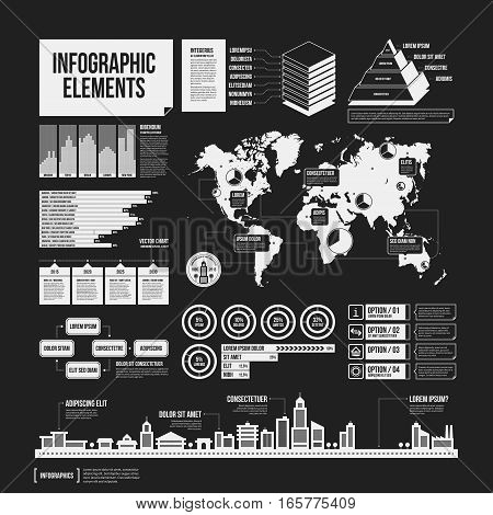 Big Set Of Infographics Elements In Black And White Colors. Monochrome Design. Minimalistic Style.