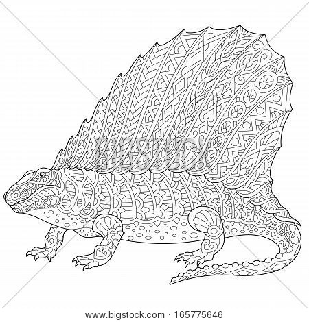 Stylized dimetrodon dinosaur fossil reptile of the Permian period isolated on white background. Freehand sketch for adult anti stress coloring book page with doodle and zentangle elements.