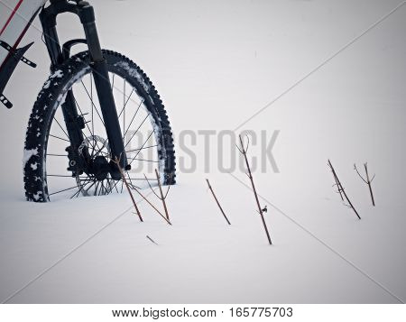 The Front Wheel Of Mountain Bike Stay In Powder Snow. Lost Path
